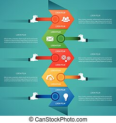 Abstract vector timeline infographic template in flat style...