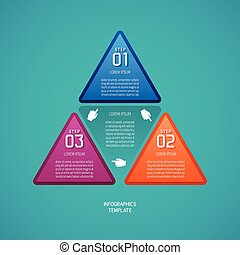 Abstract vector 3 steps infographic template in flat style...