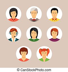 Set of avatars and characters in flat style