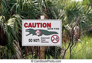 Alligator Sign Ding Darling Wildlife Refuge Sanibel Florida
