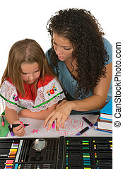 Education - Sisters studying together; drawing, reading and...