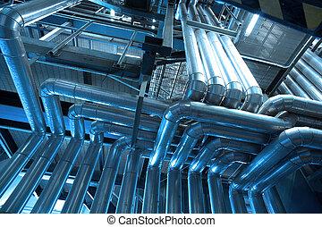Industrial zone, Steel pipelines, valves and ladders -...