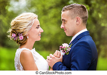 Beautiful wedding couple - Beautiful young wedding couple...