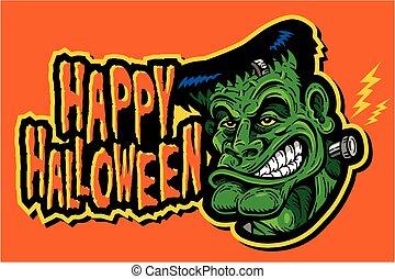 happy halloween frankenstein - festive happy halloween...