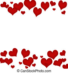 Heart Border - Red hearts on a white background, heart...