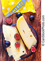cheese - fresh cheese and fresh figs on board