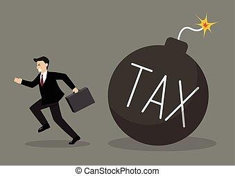 Businessman run away from tax bomb Business finance concept