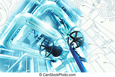 Sketch of piping design mixed with industrial equipment photo
