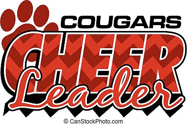 cougars cheerleader team design with chevrons and paw print