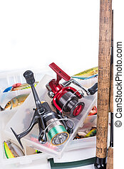 fishing tackles, fishing lure and fishing bait on plastic...