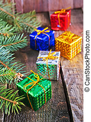 christmas background - christmas presents an a table,...