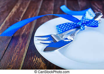 table place setting - holiday place table setting, fork and...