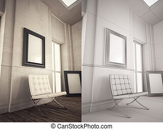 Interior Frame mock-up - Home Interior minimal style with...