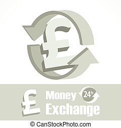 Pound symbol in grey - Pound symbol with arrow in grey,...