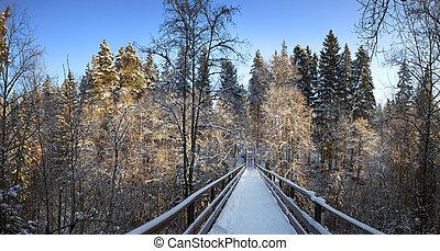 Snow covered footbridge Panorama - Snow covered footbridge...