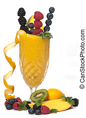 Smoothie - Healthy fruit drink made with mango, orange,...