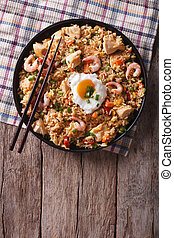 nasi goreng with chicken, prawns, egg and vegetables...