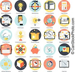 Search engine optimization theme, flat style, colorful, vector icon set