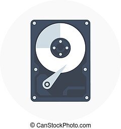 Hard drive theme, flat style, colorful, vector icon