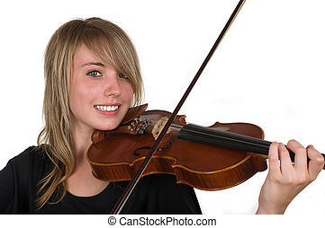 Music - A beautiful happy teenager playing her violin