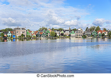 Zaanse, Schans., zdumiewający, Holenderski, village.,