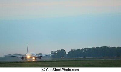 Aircraft braking after touchdown - Boeing 767 aircraft...