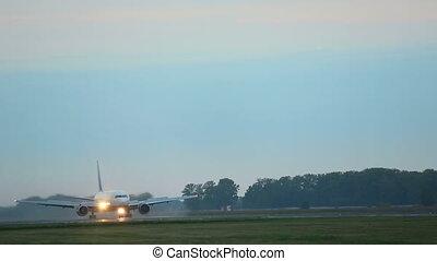 Aircraft braking after touchdown - Boeing 767 aircraft...