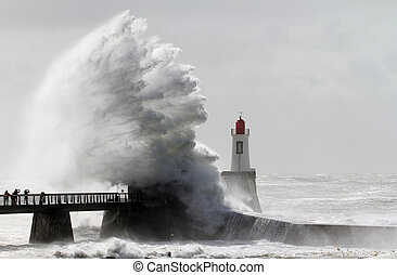 Storm on a lighthouse (Les Sables d'Olonne - France)