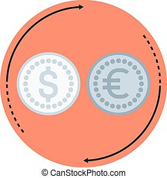 Money converter flat style, colorful, vector icon for info...
