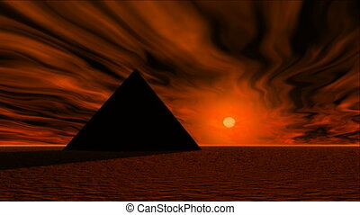 Pyramid sunrise - The sun rising over a pyramid