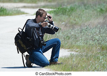 Photographer chooses a foreshortening - The photographer...