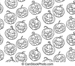 Halloween pumpkins - Seamless pattern with hand drawn...