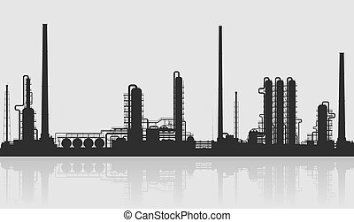 Oil refinery or chemical plant silhouette.