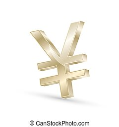 Japanese yen currency gold symbol icon, 3d vector...