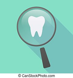 Long shadow magnifier icon with a tooth - Illustration of a...