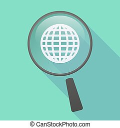 Long shadow magnifier icon with a world globe