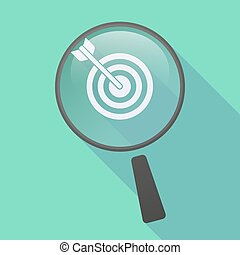 Long shadow magnifier icon with a dart board - Illustration...
