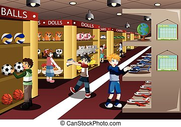 Kids at Toy Store