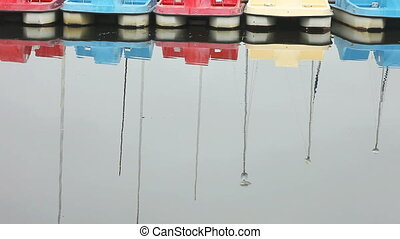 paddle boats with seagull - a row of paddle boats with a...