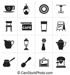 Cafe and coffeehouse icons - Black Cafe and coffeehouse...