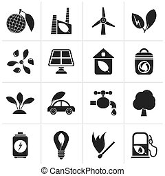 Environment and ecology Icons - Black Green, Environment and...