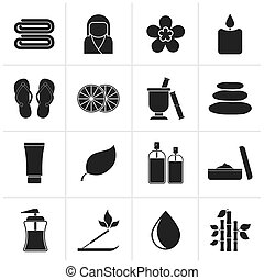 Spa objects icons - Black Spa objects icons - vector icon...