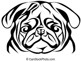 pug on white. abstract silhouette of animal isolated on a...