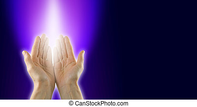Channeling the Violet Flame - Female healer with hands open...