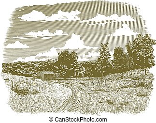 Woodcut Goodnight Farm