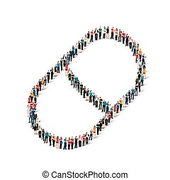 group people shape pill - A large group of people in the...