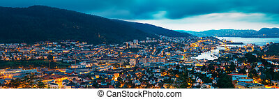 Aerial panoramic view Cityscape of Bergen and harbor from...