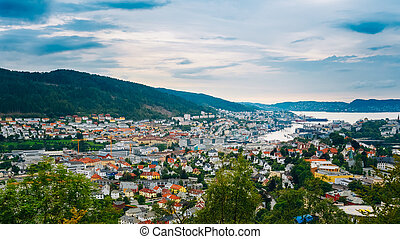 Aerial view Cityscape of Bergen, Norway - Aerial panoramic...