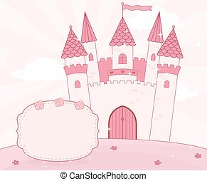 Cartoon fairy tale castle background