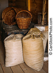 Elements of life of Russian peasants 16-19 centuries Sacks...